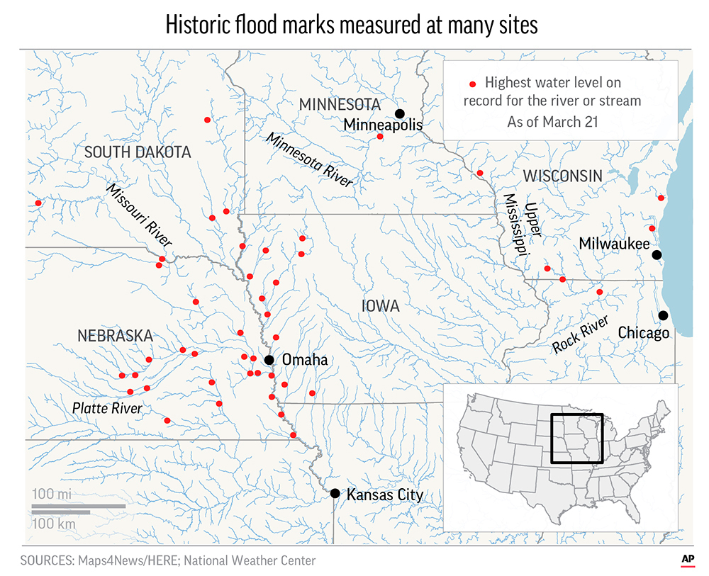 The Missouri River has set records with historic flood marks measured in 30 places in Nebraska, Iowa and South Dakota.;
