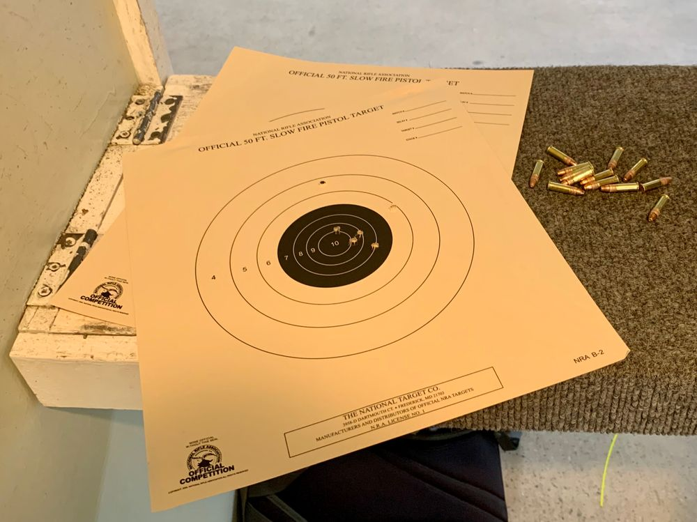 Students in the Newport Rifle Club's all-women's pistol class practiced shooting revolvers and semi-automatic pistols at 50 foot targets.