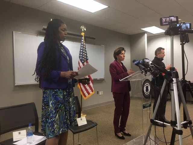 Alexander-Scott (left) during a news conference in March