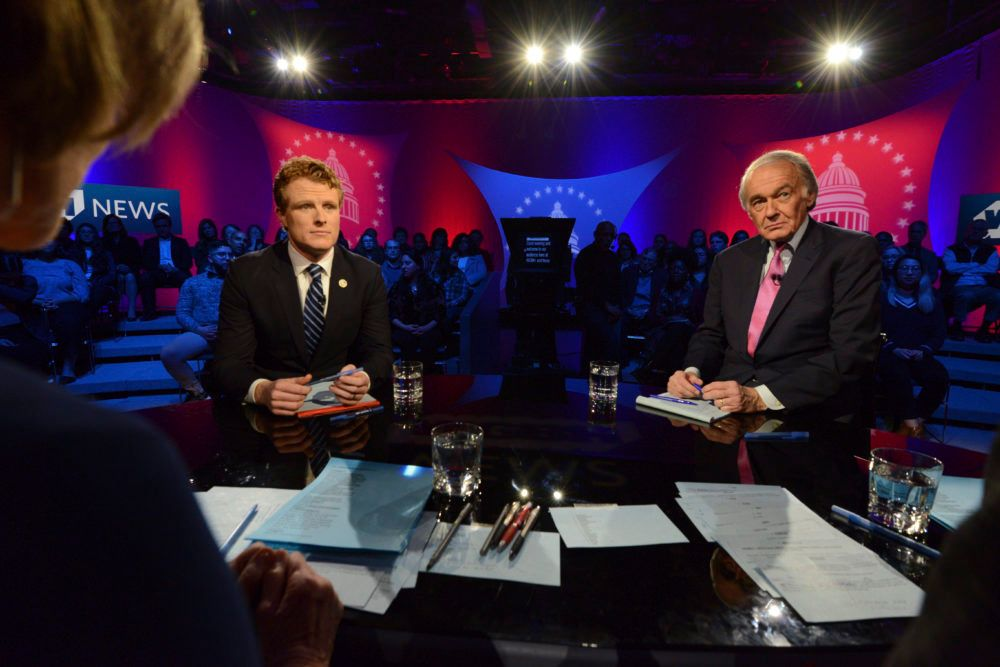 U.S. Rep. Joe Kennedy III, D-Mass, left, and Sen. Ed Markey, right, square off in the first senate primary debate hosted by WGBH News on Tuesday at the WGBH Studios in Boston.