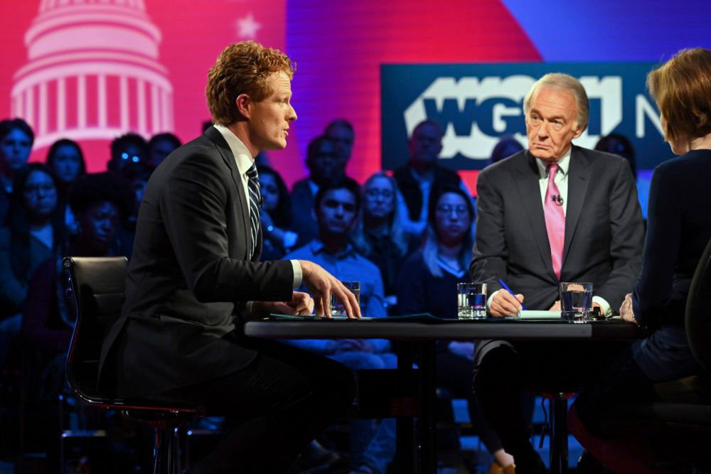 Rep. Joe Kennedy III and Sen. Ed Markey square off in the first Senate primary debate on Tuesday in Boston.