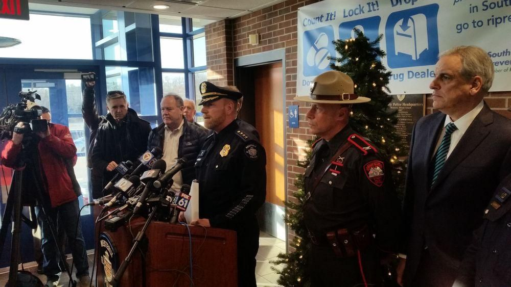 Westerly police chief Shawn Lacey addresses the media following a deadly shooting in December.