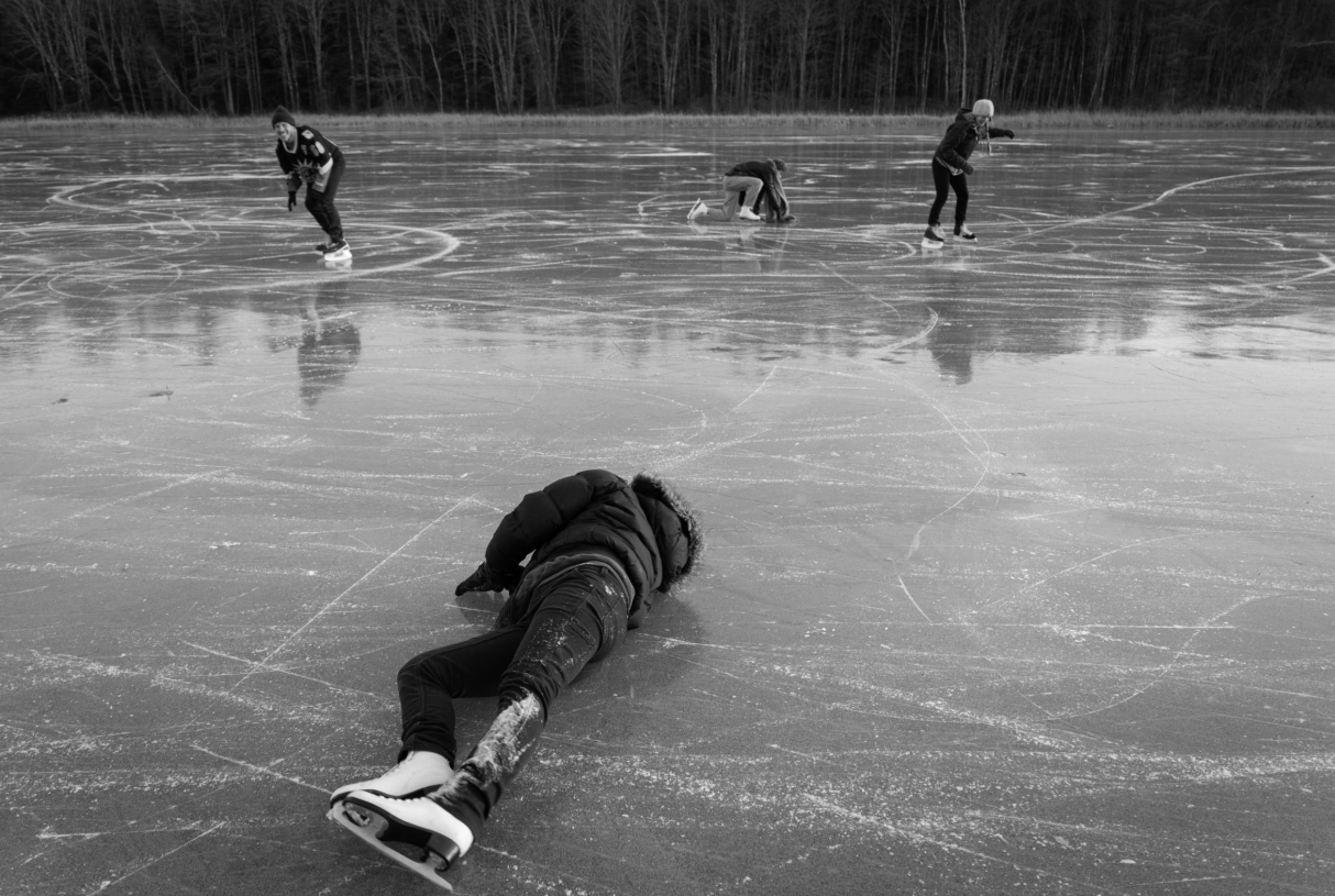 At rear, from left, on the ice: Dave Marks, Kate Popetz and Anna Morningstar. At foreground: Rachael Tani.
