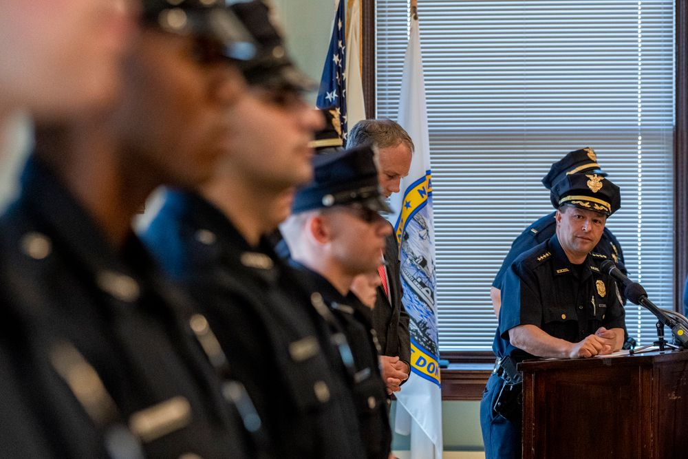 Chief Joseph Cordeiro gives a welcoming speech to six new officers joining the New Bedford Police Department from a meeting room in the New Bedford Public Library in downtown New Bedford. (9-17-2018)