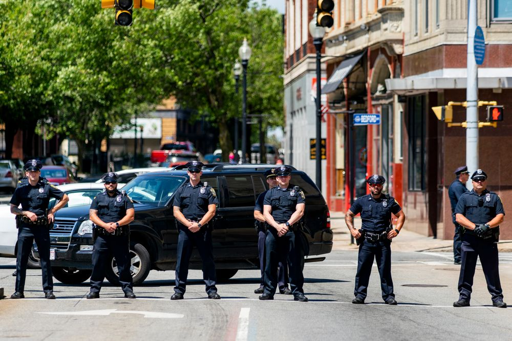 Police officers block off streets near the Government Center building in Fall River to protect protesters during a Black Lives Matter protest. (6-4-20)