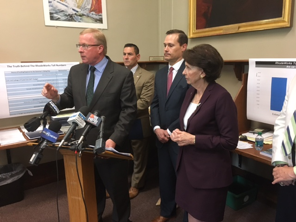 Chris Maxwell of the RI Trucking Association during a 2017 news conference.