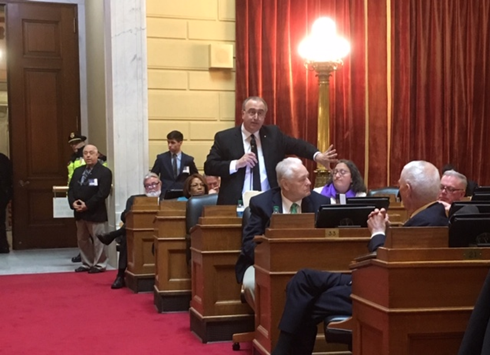 Rep. Arthur Corvese (D-North Providence), an opponent of abortion, speaks during the debate.