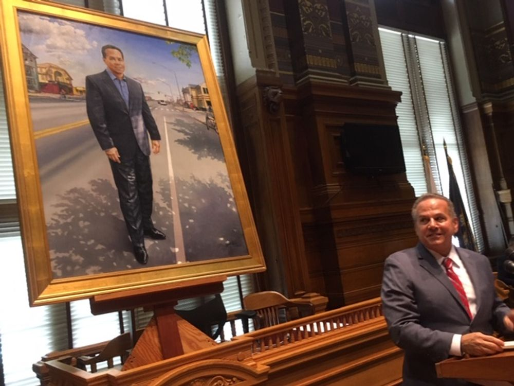 Cicilline during the unveiling of his mayoral portrait earlier this year.
