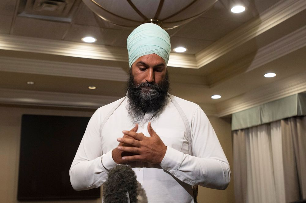 New Democratic Party Leader Jagmeet Singh comments on a photo from 2001 surfacing of Canadian Prime Minister and Liberal leader Justin Trudeau, when he was a teacher wearing