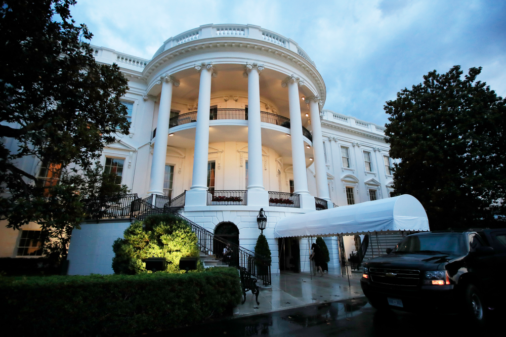 The White House is shown soon after President Donald Trump's arrival from a trip to Colorado, Thursday, May 30, 2019, in Washington. In a surprise announcement that could compromise a major trade deal, President Donald Trump announced Thursday that he is slapping a 5% tariff on all Mexican imports to pressure the country to do more to crack down on the surge of Central American migrants trying to cross the border. (AP Photo/Manuel Balce Ceneta)
