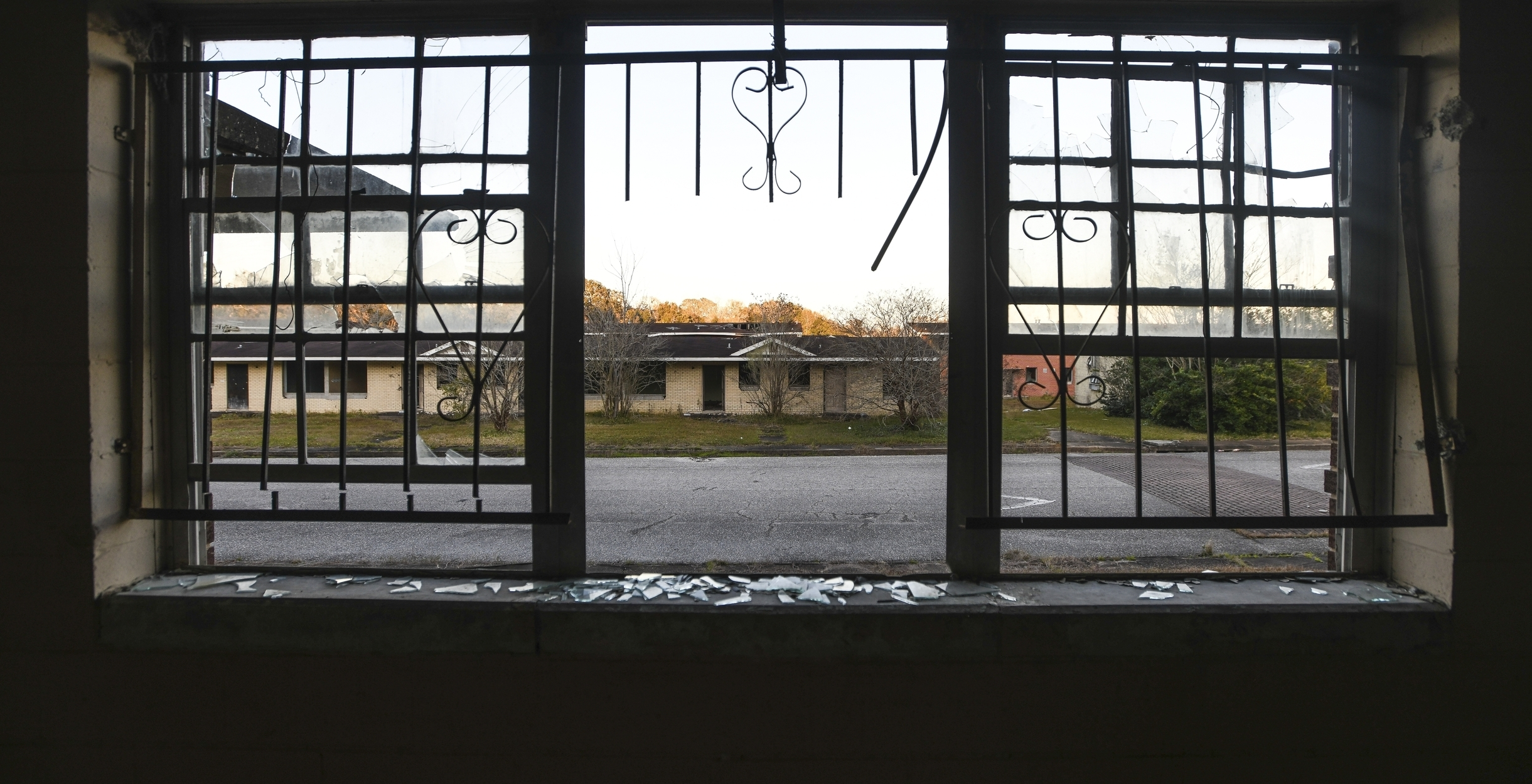 The Josephine Allen housing project stands abandoned in what's known as the Africatown's Happy Hills community in Mobile, Ala., on Tuesday, Jan. 29, 2019. (AP Photo/Julie Bennett)