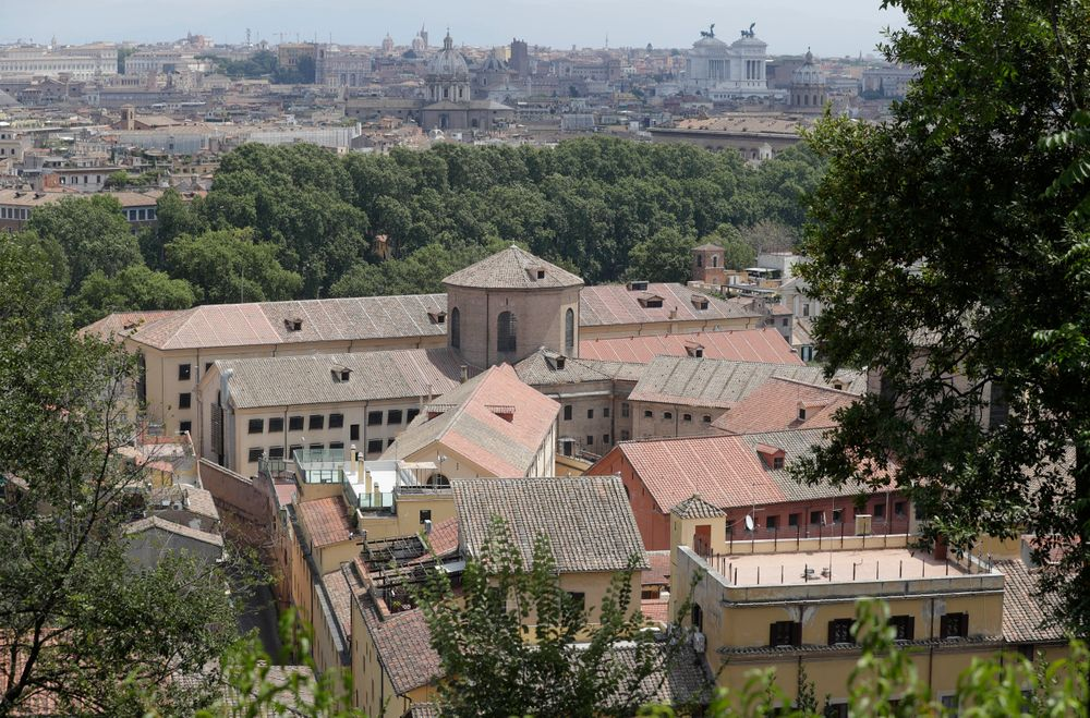 A view from the above of the Regina Coeli prison, where the alleged murderers of carabiniere Mario Cerciello Rega, who was stabbed to death, are detained in Rome, Saturday, July 27, 2019. In a statement Saturday, Carabinieri officers investigating the death Friday of officer Cerciello Rega, 35, said two American tourists, both 19, have been detained for alleged murder and attempted extortion. (AP Photo/Andrew Medichini)