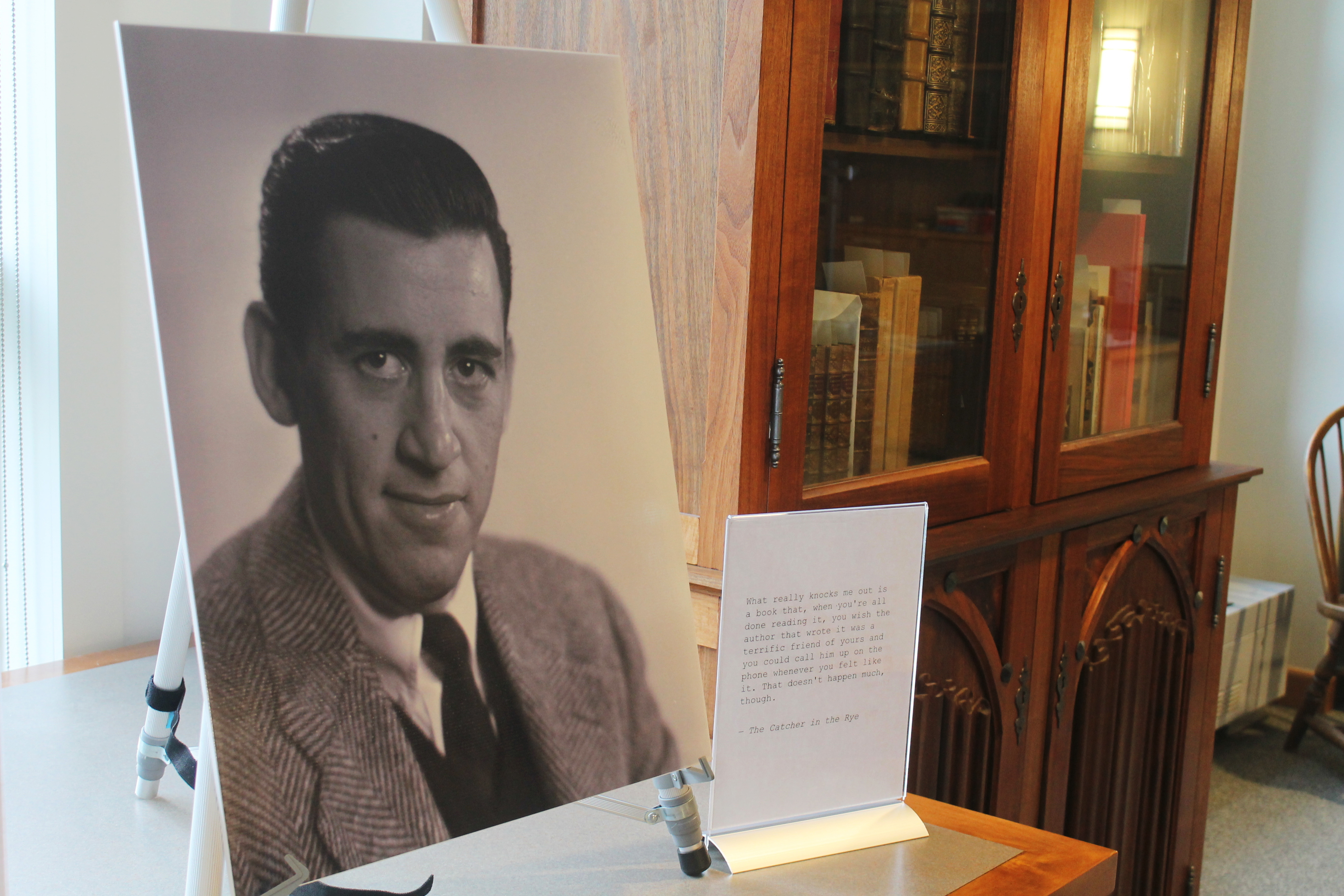 A previously unseen photo of author J.D. Salinger is displayed at the University of New Hampshire in Durham, N.H., on Tuesday, Jan. 22, 2019. The photos taken for the book jacket of Salinger's 1951 novel,