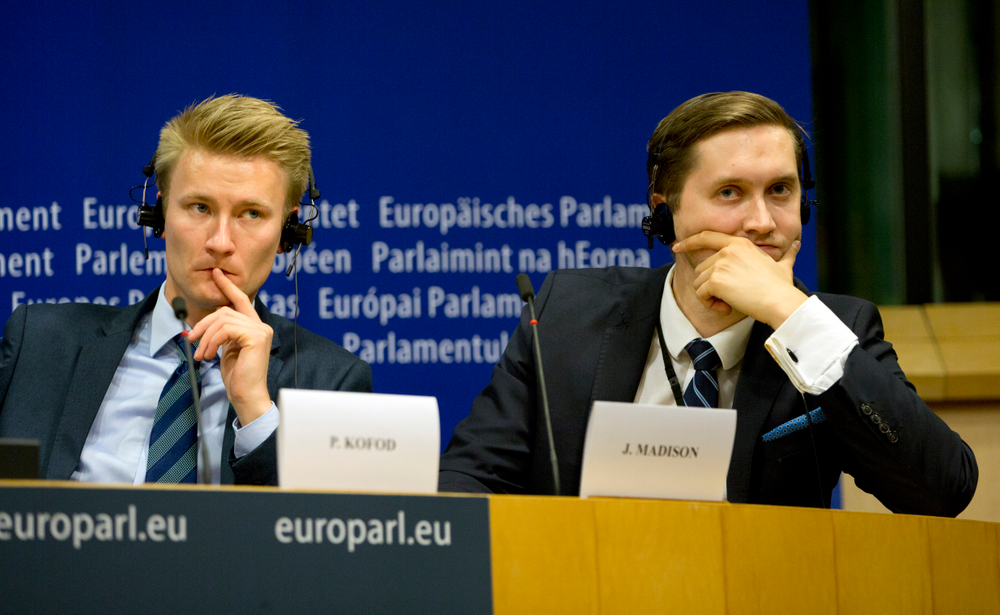 Estonian EKRE member and MEP Jaak Madison, right, and Denmark's DFP member and MEP Peter Kofod attend a media conference to announce the formation of a new far-right European Parliament group at the European Parliament in Brussels, Thursday, June 13, 2019. (AP Photo/Virginia Mayo)