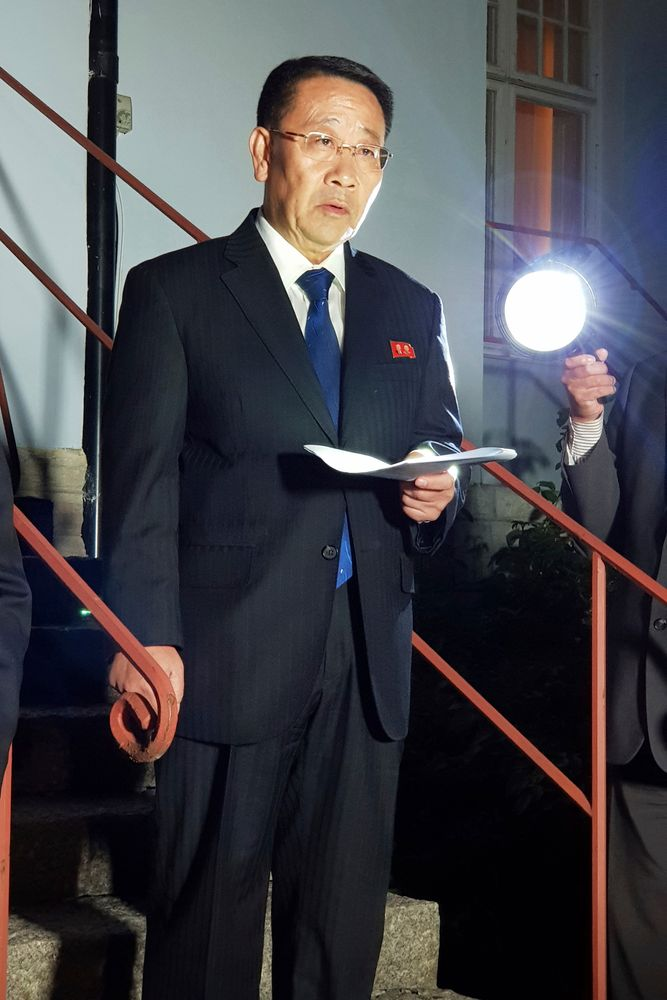 In this Oct. 5, 2019 FILE photo, North Korean negotiator, Kim Miyong Gil speaks outside the North Korean Embassy in Stockholm, Sweden, Saturday, Oct. 5, 2019. North Korea is calling an outside condemnation of its weapons launches a