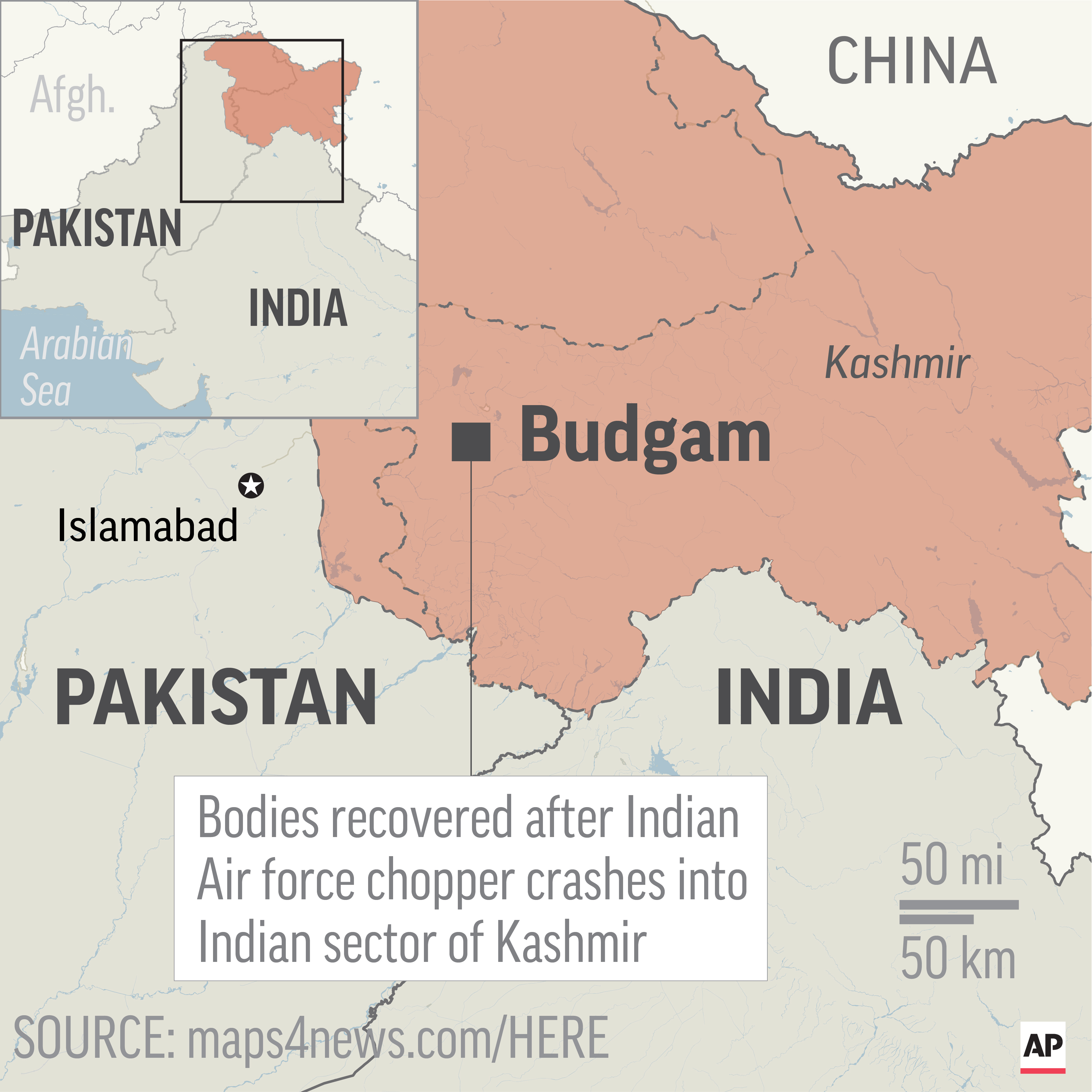 Map locates Budgam in Kashmmir, where bodies were recovered after an Indian air force helicopter crashed; 2c x 3 inches; 96.3 mm x 76 mm;