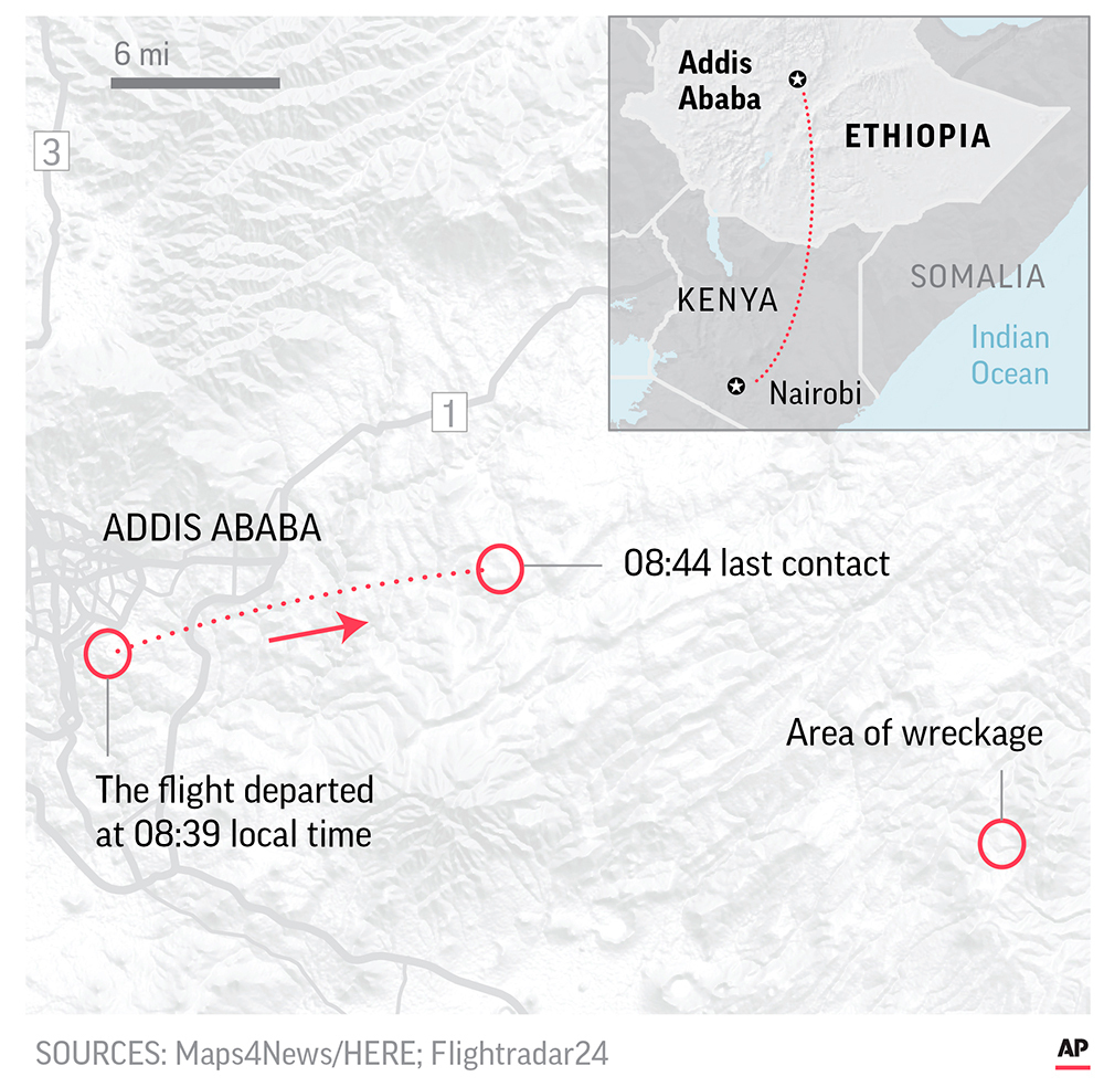 Map shows path of Ethiopian Airlines Flight 302