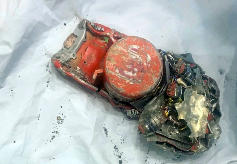 This photo provided by by the French air accident investigation authority BEA on Thursday, March 14, 2019, shows one of the black box flight recorder from the crashed Ethiopian Airlines jet, in le Bourget, north of Paris. The French air accident investigation agency has released a photo of the data recorder from the crashed Ethiopian Airlines jet. The agency, known by its French acronym BEA, received the flight's data recorder and voice recorder Thursday. (BEA via AP)