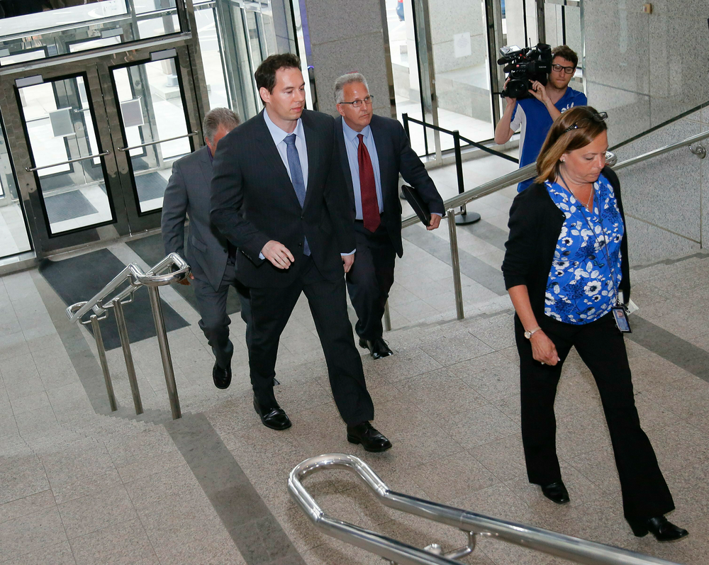 Former Mount Carmel Dr. William Husel arrives at the downtown Columbus Division of Police headquarters where he was charged with 25 counts of murder before being transported to the Franklin County Jail on Wednesday, June 5, 2019. Husel is accused of ordering excessive doses of painkillers for 35 patients over a four-year period. (Adam Cairns/The Columbus Dispatch via AP)