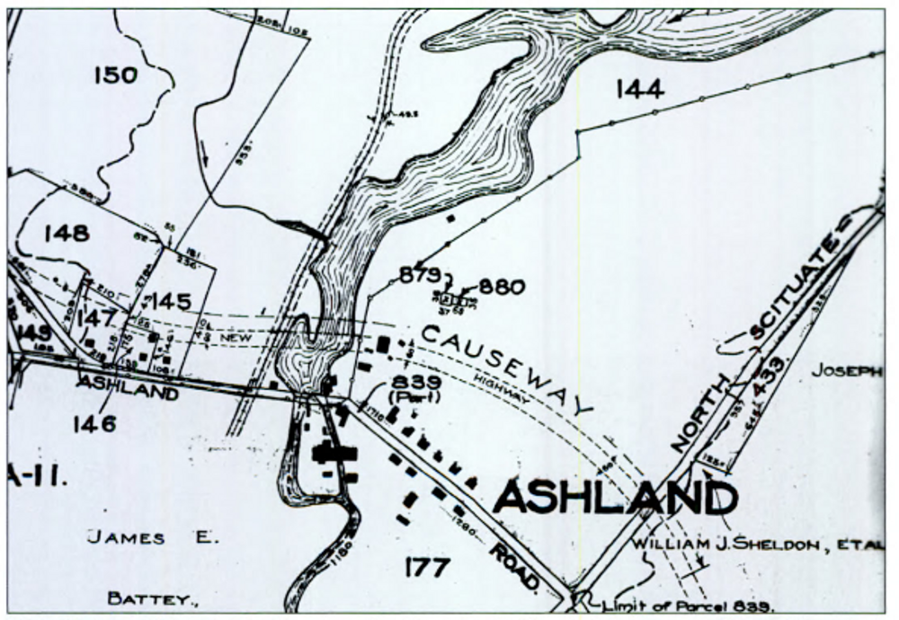 This 1916 map of the village of Ashland shows the planned route of the Plainfield Pike causeway across the reservoir. The village was flooded, and the causeway completed in 1925.
