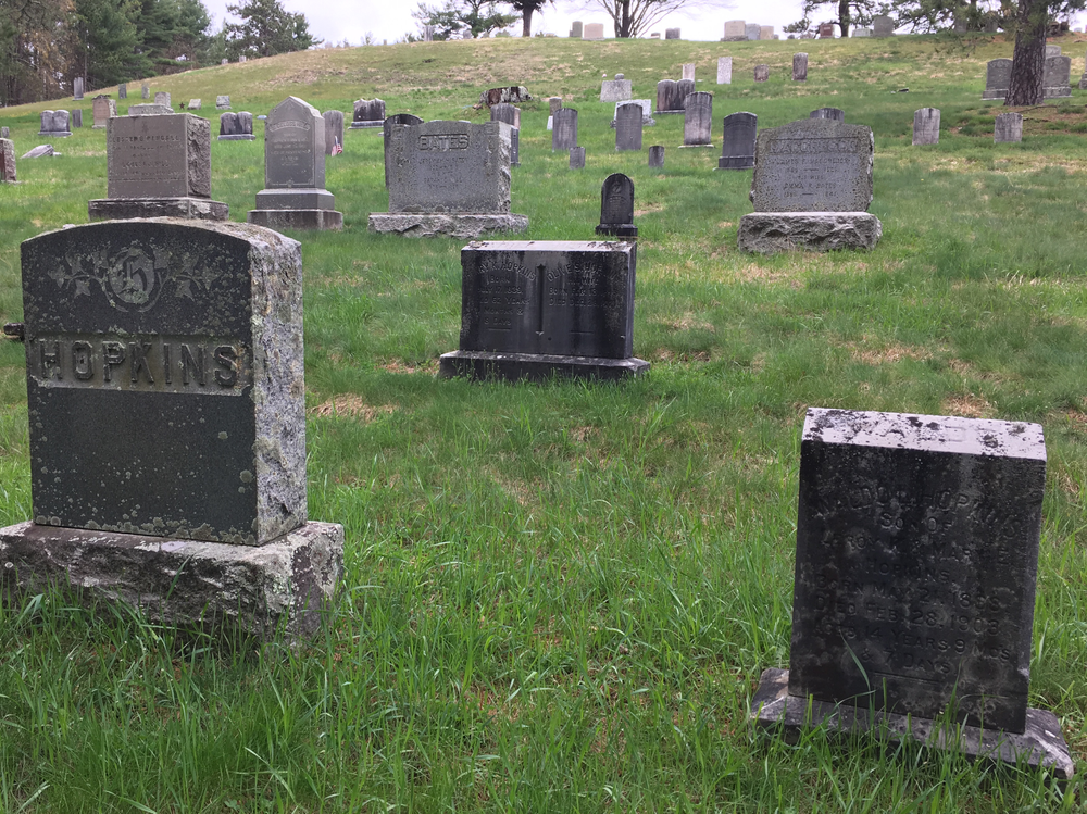 The New Rockland Cemetary contains graves relocated from family plots and cemetaries when the reservoir was built, as well as new graves from the past century.
