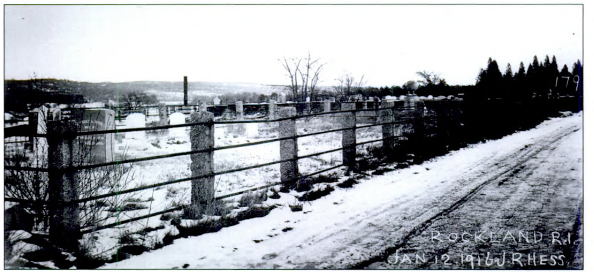 All the graves in the Old Rockland Cemetary, photographed here in January 1916, were among the 1,080 graves relocated to the New Rockland Cemetary.
