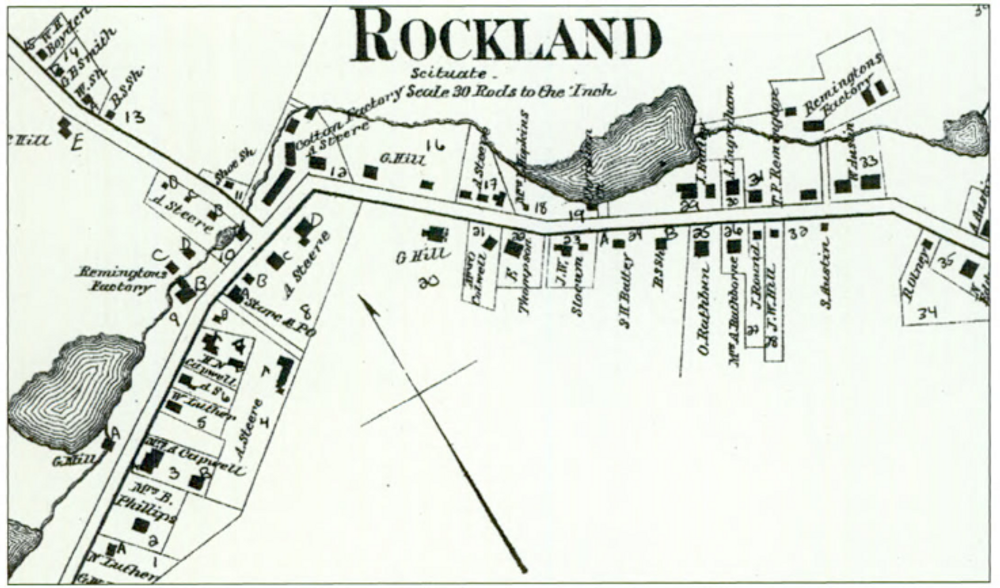 The village of Rockland, shown in this 1870 map, contained three mills.