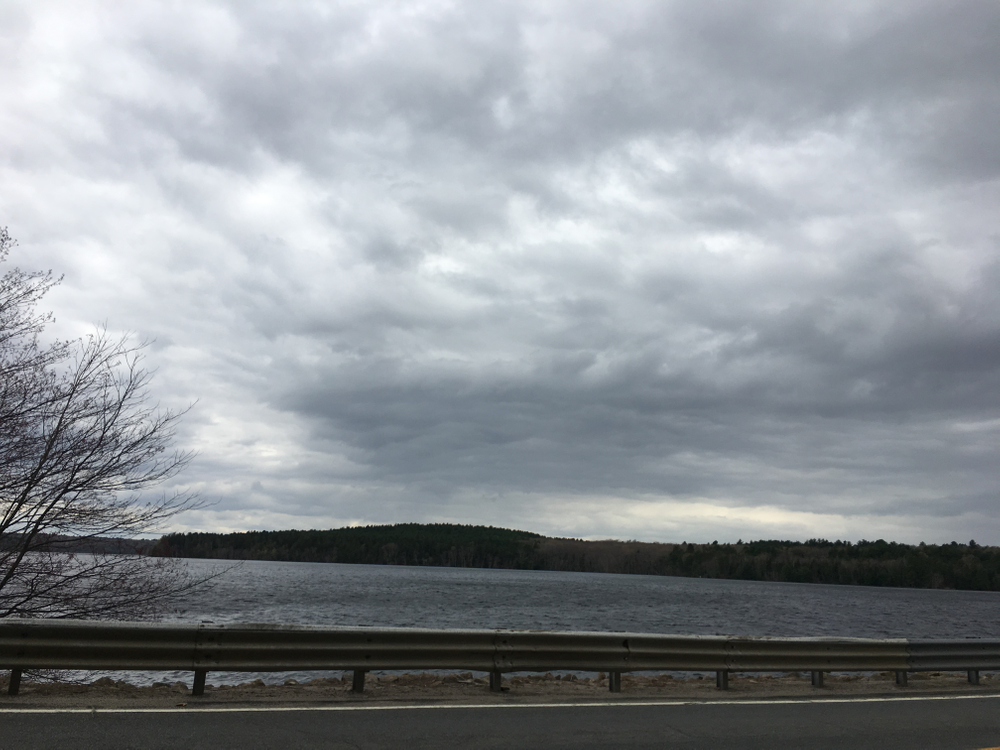 A view of the Scituate Reservoir from the Plainville Park causeway, looking south towards where the village of Ashland was located.