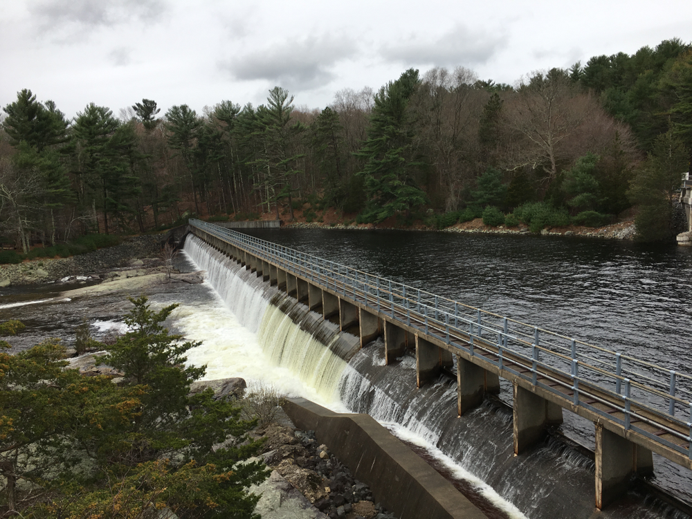 The spillway allows water from the Reservoir to flow into the north branch of the Pawtuxet River.