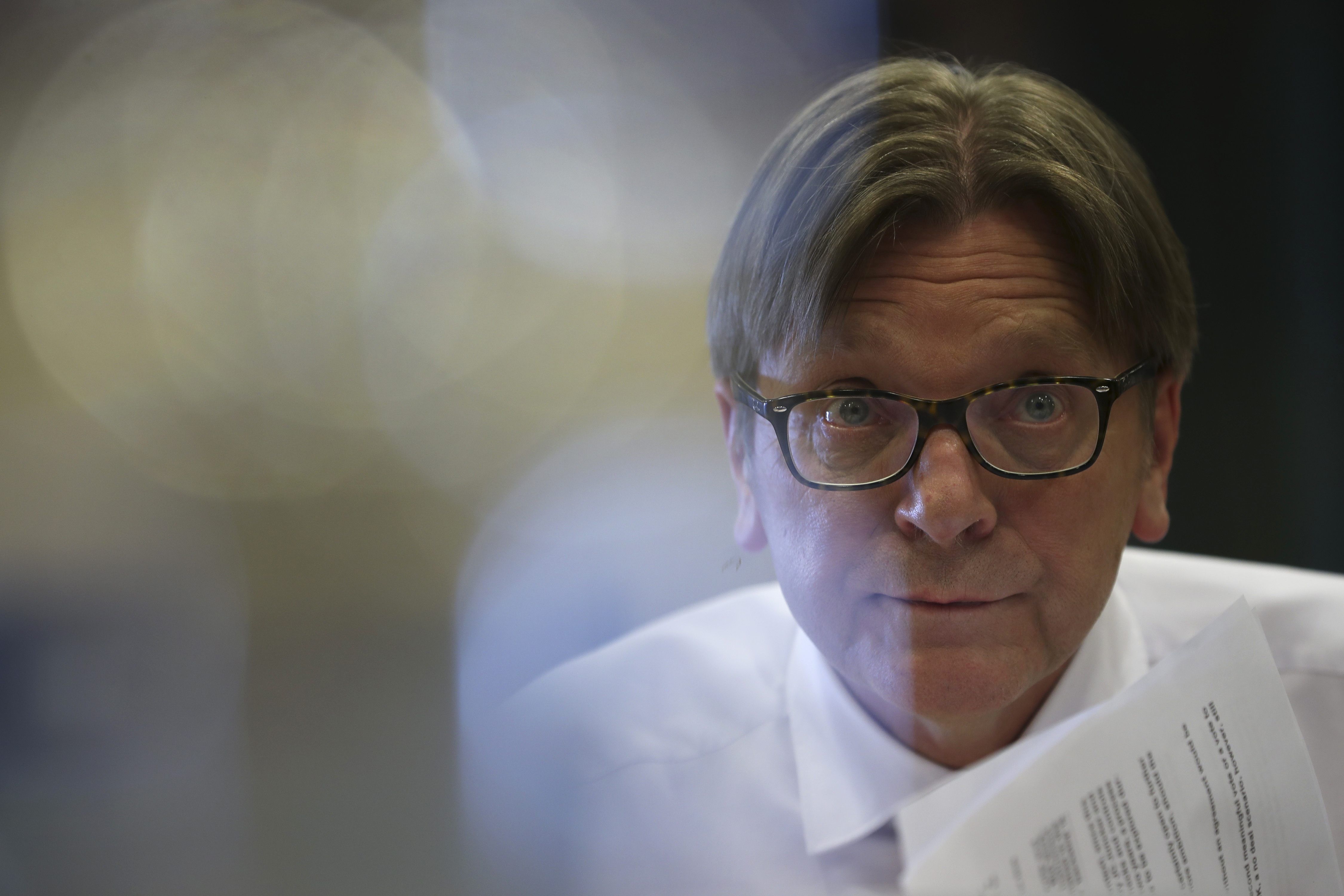 The European Parliament's top Brexit official Guy Verhofstadt pauses, as he talks during a debate about Britain's Brexit split from the EU at the European Parliament in Brussels, Thursday, March 7, 2019. Verhofstadt says he does not want a long extension of the Brexit departure date and not one that would go beyond the May elections for the legislators. (AP Photo/Francisco Seco)