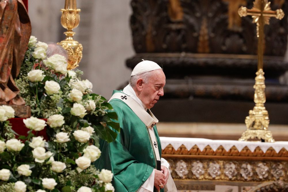 Pope Francis celebrates an opening Mass for the Amazon synod, in St. Peter's Basilica, at the Vatican, Sunday, Oct. 6, 2019. Pope Francis is opening a divisive meeting on preserving the Amazon and ministering to its indigenous peoples, as he fends off attacks from conservatives who are opposed to his ecological agenda.(AP Photo/Andrew Medichini)