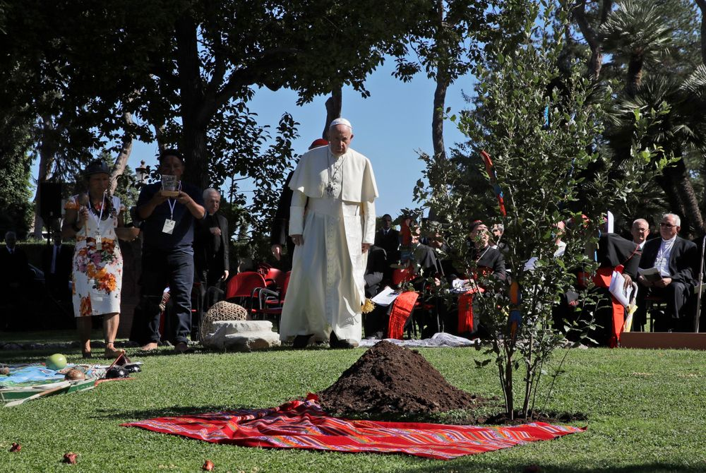 Pope Francis walks towards an newly-planted oak tree during a tree-planting ceremony on the occasion of the feast of St. Francis of Assisi, the patron saint of ecology, at the Vatican, Friday, Oct. 4, 2019. The ceremony takes place two days before a Synod of bishops on the Pan-Amazon region opens at the Vatican to address the ecological, social and spiritual needs of indigenous peoples in the Amazon. (AP Photo/Alessandra Tarantino)