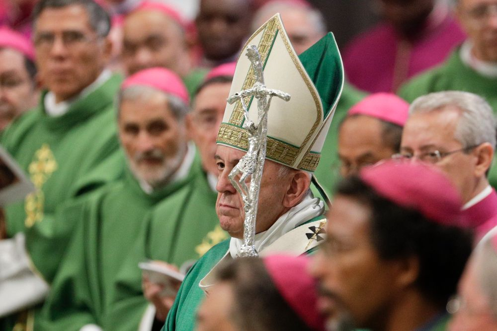 Pope Francis holds his pastoral staff as he celebrates an opening Mass for the Amazon synod, in St. Peter's Basilica, at the Vatican, Sunday, Oct. 6, 2019. Pope Francis is opening a divisive meeting on preserving the Amazon and ministering to its indigenous peoples, as he fends off attacks from conservatives who are opposed to his ecological agenda. (AP Photo/Andrew Medichini)