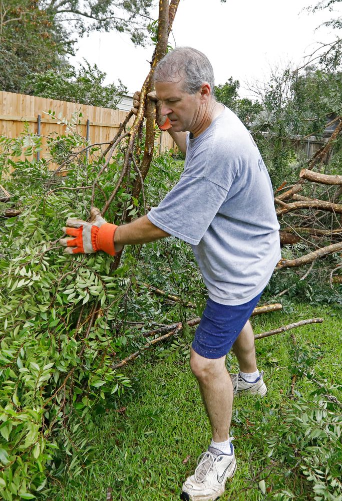 Steve Bergeron collects downed branches from a Tropical Storm Barry damaged backyard tree, Sunday, July 14, 2019, in Morgan City, La. Bergeron and his wife, Lois Bergeron spent much of their Sunday morning cleaning up tree limbs, clumps of leaves and other storm debris. (AP Photo/Rogelio V. Solis)