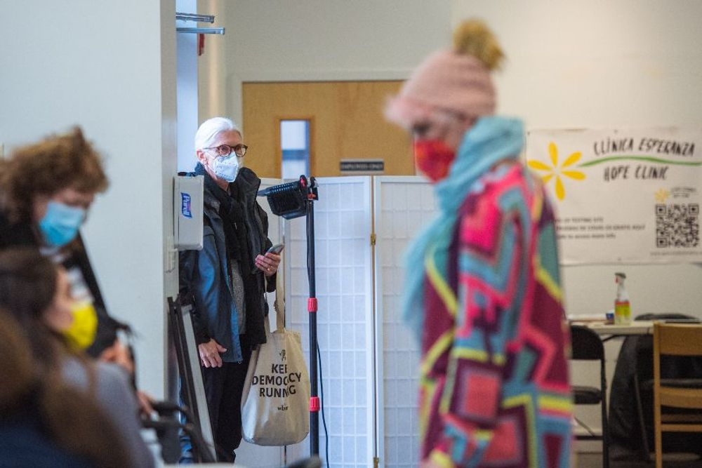 Susan Dalton, 65, of Providence's East Side, arrives for her appointment to get a vaccine at Clinica Esperanza, in the city's Olneyville section..