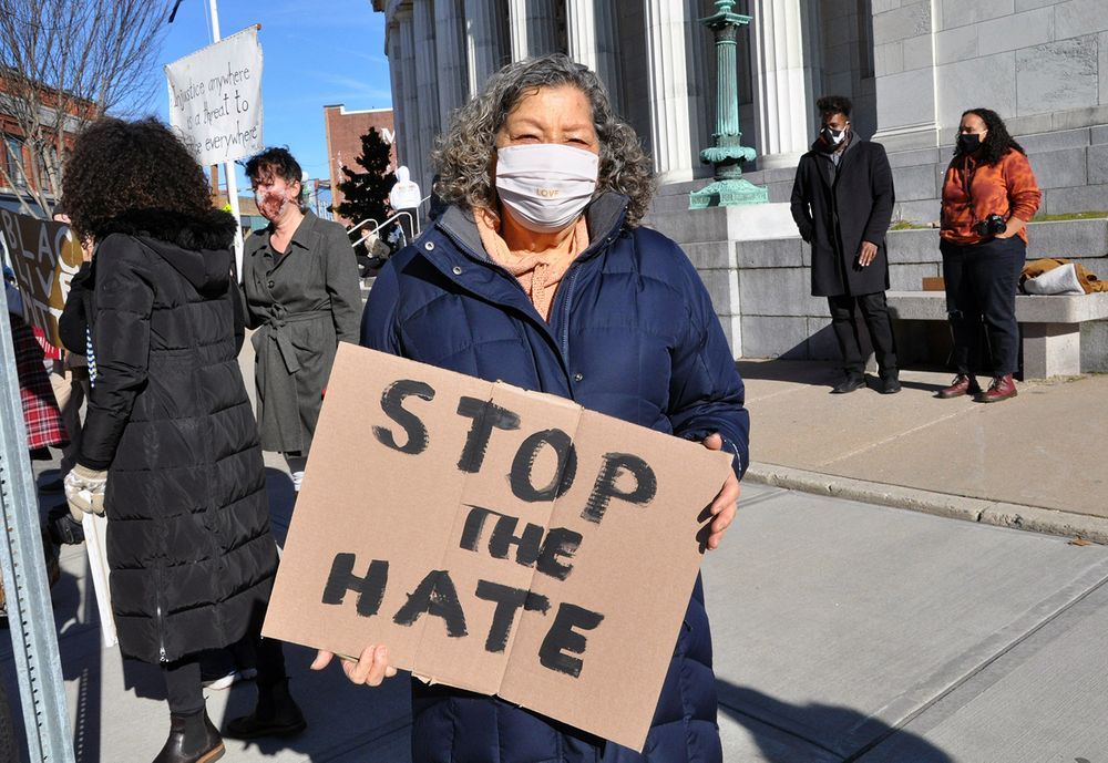 Madeline Labriola is pictured at a Black Lives Matter demonstration on Sunday, Jan. 11, 2021, in downtown Westerly.