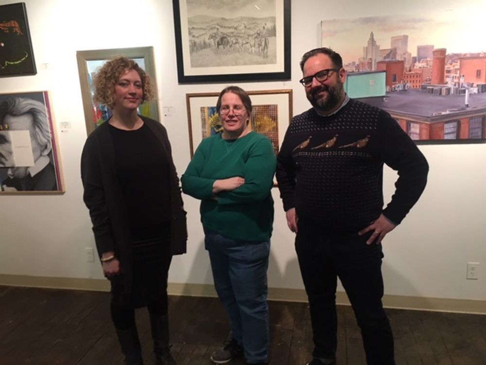 From left to right: Victoria Dalpe, Gallery Chief and Pawtucket Arts Collaborative board member, Lin Collette, Pawtucket Arts Collaborative board member, and Dominic Molon, guest juror and Richard Brown Baker Curator of Contemporary Art at the RISD Museum of Art in the Mill Gallery..