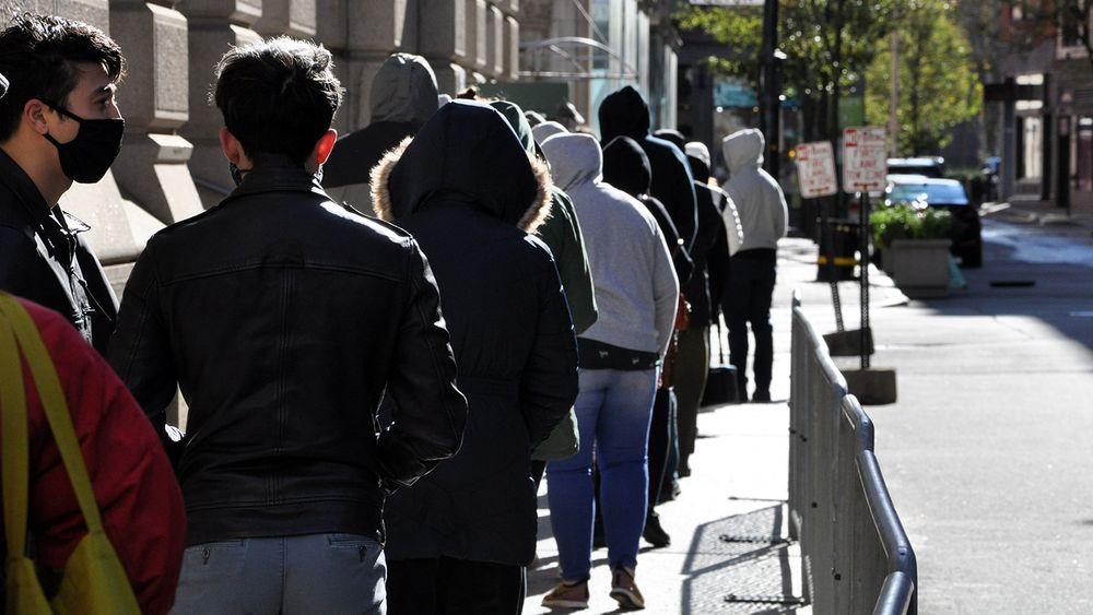 Voters line up outside Providence City Hall, November 2, 2020.