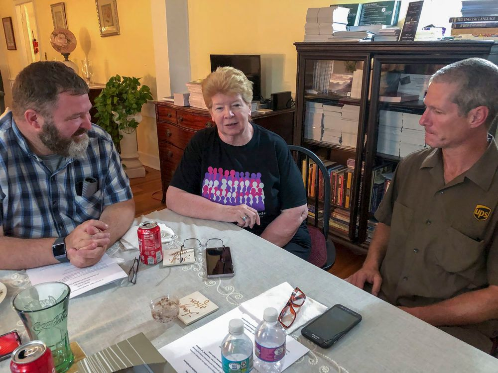 From left to right, Ted Figlock, Annemarie Matulis and Steven Palm at a support group meeting in Taunton.