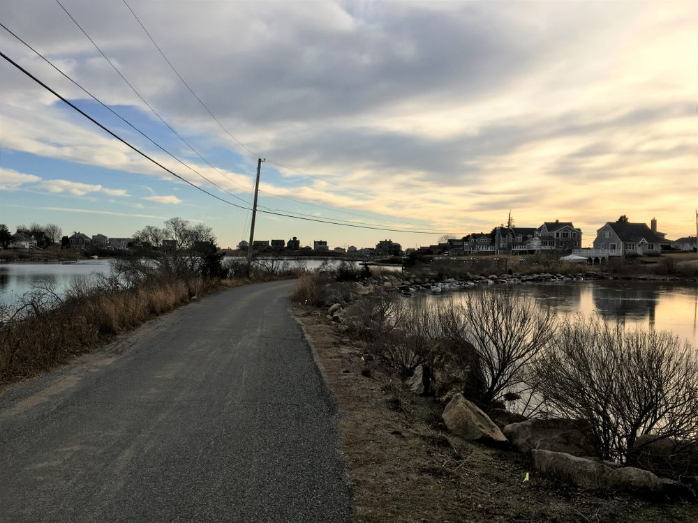 A causeway connects homes on Prospect Road to the rest of Matunuck.