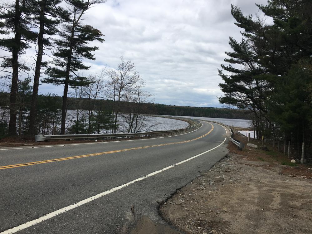 Route 114 runs across the reservoir.