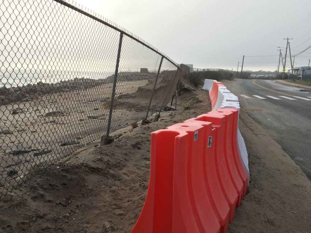 The beach in front of Matunuck Beach Road is eroding by about 3 feet per year, threatening the only access route to 240 homes.