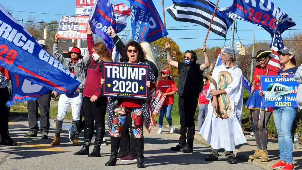 Trump supporters protest outside the RI Board of Elections in Cranston after the November election