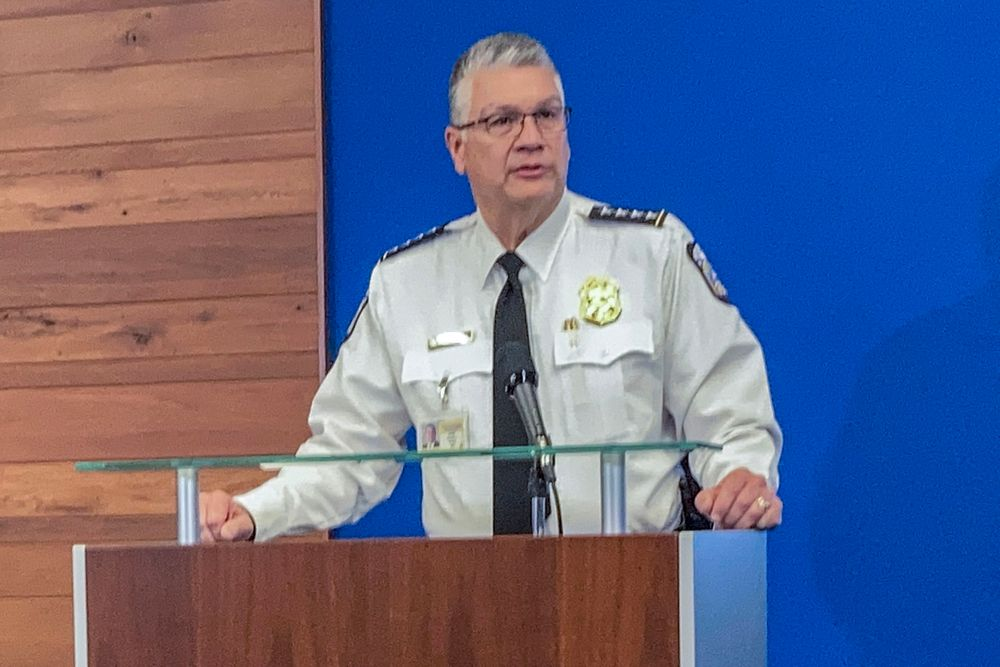Interim Columbus Police Chief Michael Woods speaks during a news conference, Wednesday, April 21, 2021, about the Tuesday fatal police shooting of 16-year-old Ma'Khia Bryant, as she swung a knife at two other people in Columbus, Ohio. Woods called the teenagers death a tragedy that he