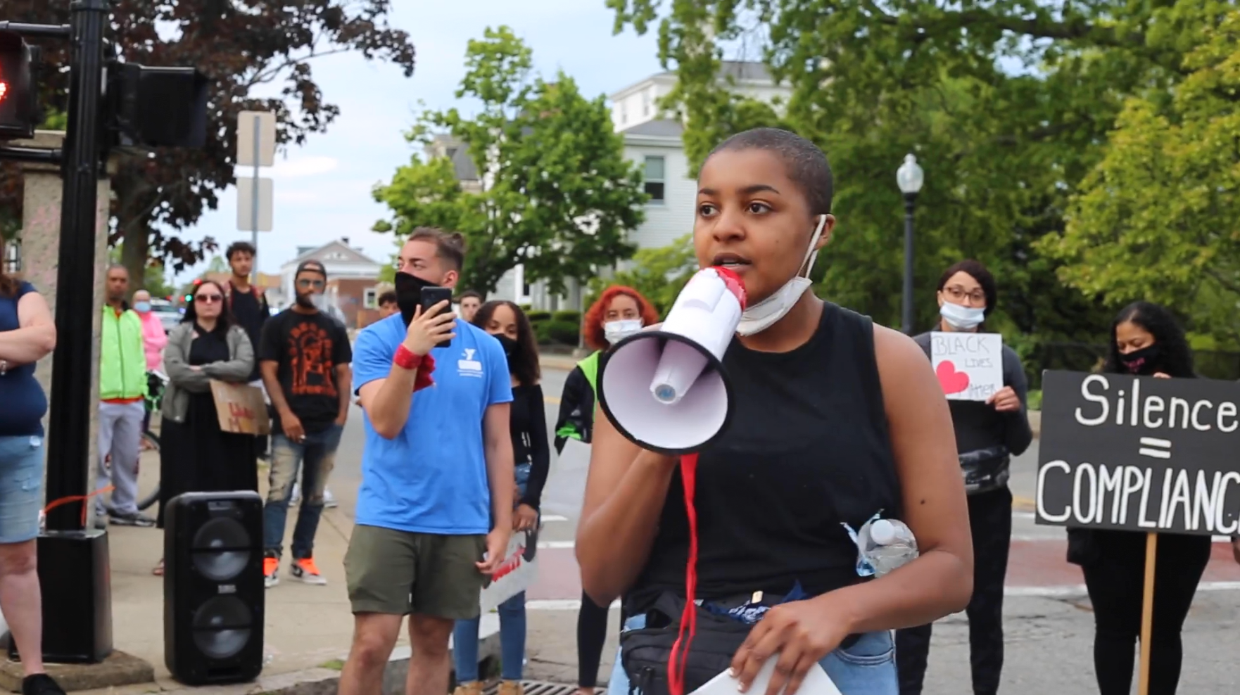 Lynea Gilreath, 20, speaking against police brutality at a rally earlier this week.