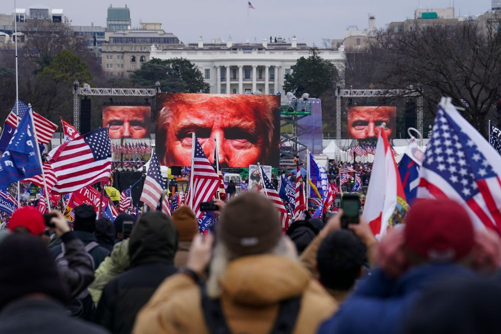 In this Jan. 6, 2021, file photo, Trump supporters participate in a rally in Washington.