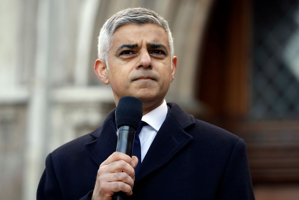 Mayor of London Sadiq Khan speaks during a vigil at Guildhall Yard in London, Monday Dec. 2, 2019, to remember the London attack victims and honor members of the emergency services and bystanders who fought the attacker. London Bridge reopened to cars and pedestrians Monday, three days after a man previously convicted of terrorism offenses stabbed two people to death and injured three others before being shot dead by police. (AP Photo/Matt Dunham)