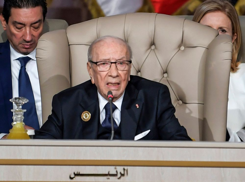 FILE - In this March 31, 2019, file photo, Tunisian President Beji Caid Essebsi chairs the opening session of the 30th Arab Summit in Tunis, Tunisia. Tunisian President Beji Caid Essebsi, the country's first democratically elected leader, has died at 92, his office announced Thursday July 25, 2019.  (Fethi Belaid/ Pool Photo via AP, File)