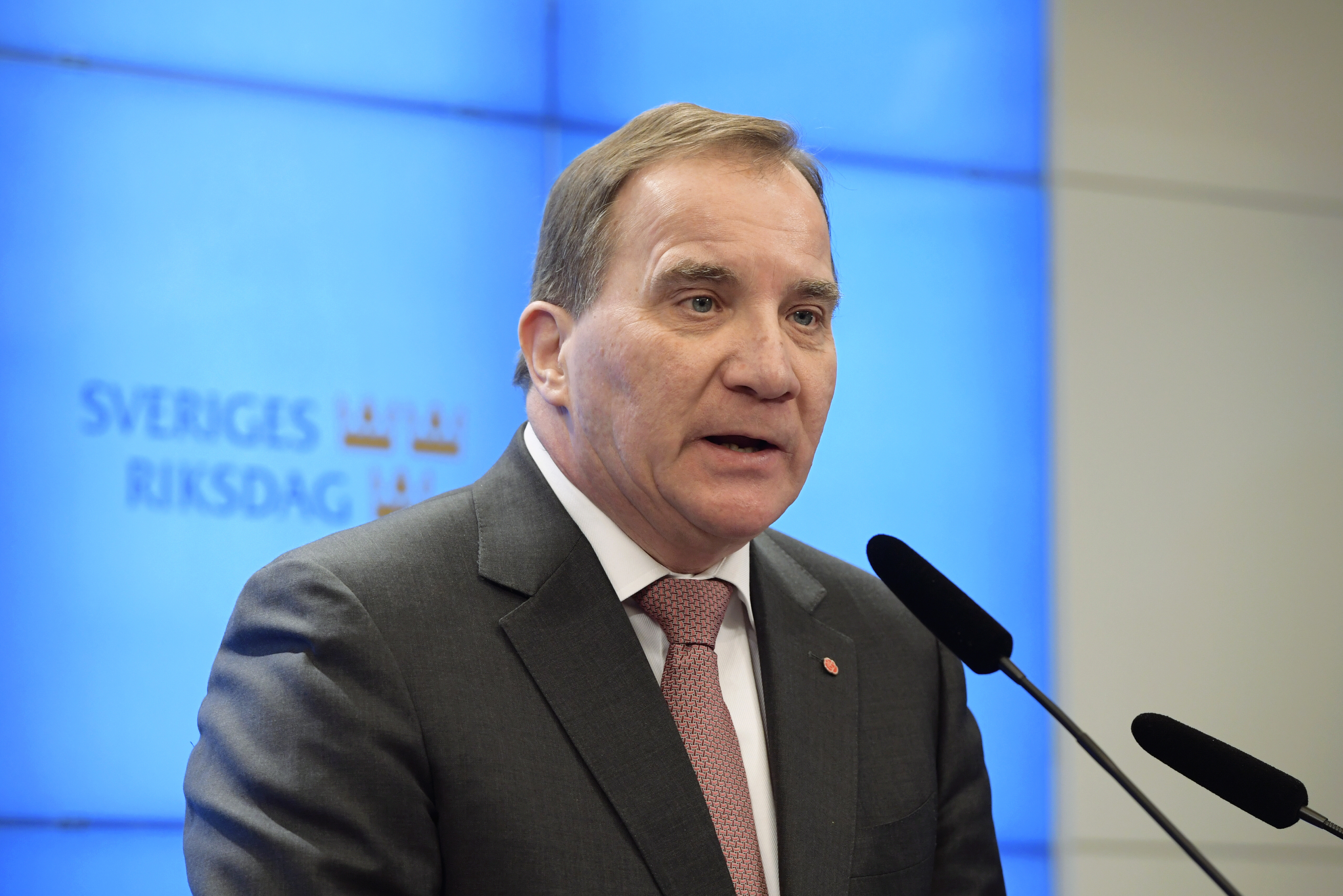Sweden's Prime Minister Stefan Lofven attends a press conference after his meeting with the Speaker of the parliament Andreas Norlen, in Stockholm,  Monday, Jan. 14, 2019.  The Speaker of the Swedish Parliament Riksdagen will Monday present a proposal to the Riksdag for a candidate for Prime Minister. (Anders Wiklund/TT News Agency via AP)