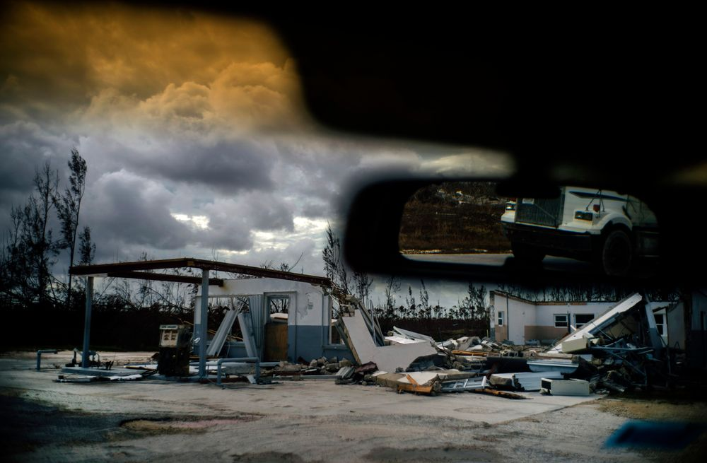 A shattered gas station is seen at the aftermath of Hurricane Dorian in Freetown, Grand Bahama, Bahamas, Friday Sept. 13, 2019. (AP Photo/Ramon Espinosa)